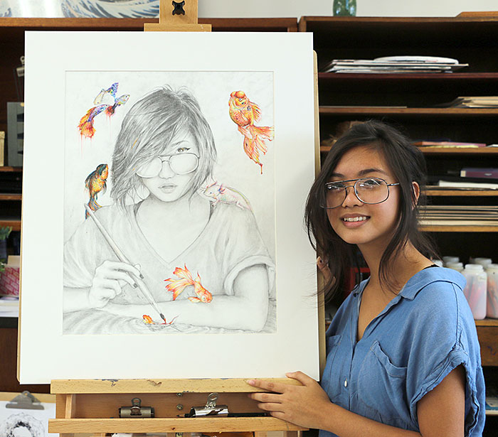 Arianne Javier with her illustration, Creator