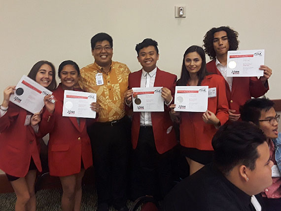 Kapolei High principal with FCCLA team