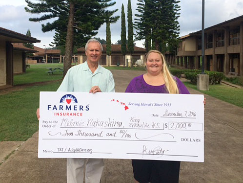Farmer's check for KKHS