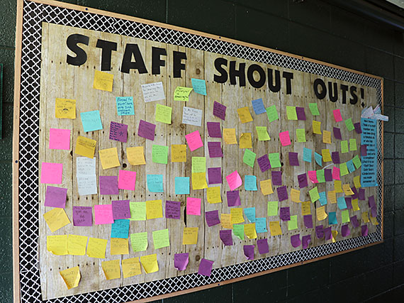 Staff shout outs board at King Kamehameha III Elementary