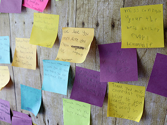 Close up of students' notes to teachers