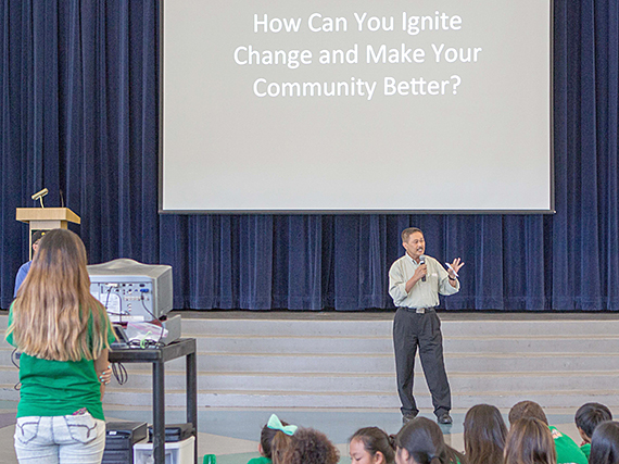 School assembly to refocus effort on positive behavior.