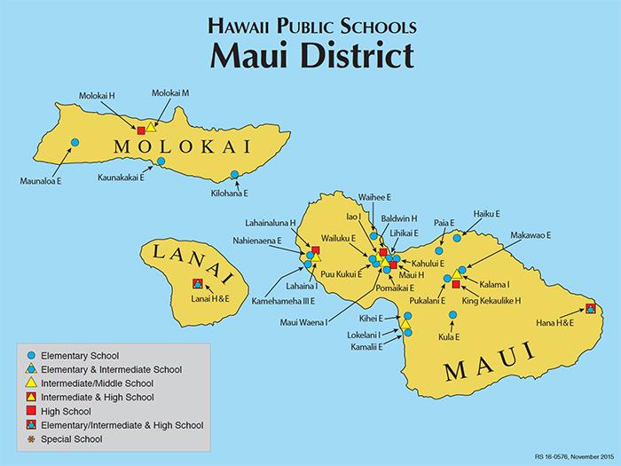 Maui Hawaii Map Hawaii DOE | Maui County Map