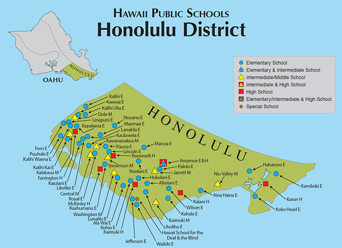 Map Of Honolulu Hawaii Hawaii DOE | Oahu Map Map Of Honolulu Hawaii