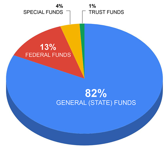 FY20 pie chart: 82% general (state) funds, 13% federal funds, 4% special funds, 1% trust funds.