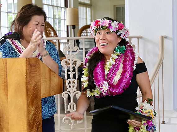 2018 Hawaii State Teacher of the Year Vanessa Ching, Ewa Makai Middle School, reacts to the announcement of her selection.