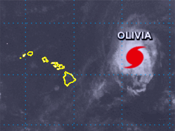 Satellite photo of Tropical Storm Olivia relative to Hawaiian Islands.