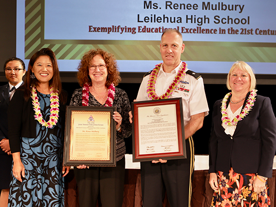 Photo of 2018 K. Mark Takai Outstanding Civilian Contributor Commendation Award to Mrs. Renee Mulberry from Leilehua High.