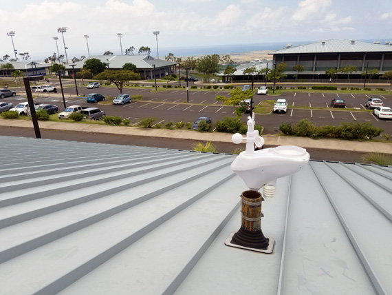Kealakehe High School is one of 37 schools that has a solar-powered weather station mounted on the roof.