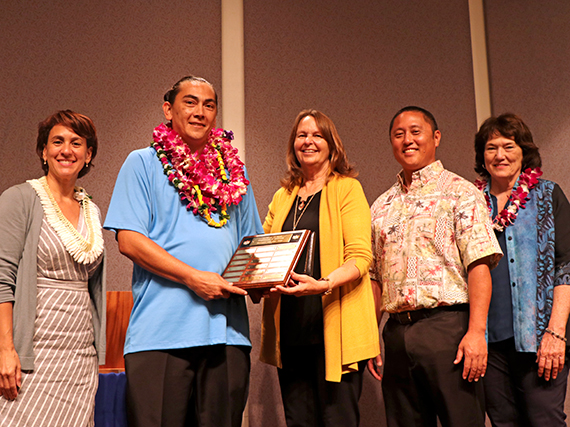 Photo of Jason Locke, school custodian at Ewa Makai Middle School, named HIDOE's 2019 Manager of the Year.