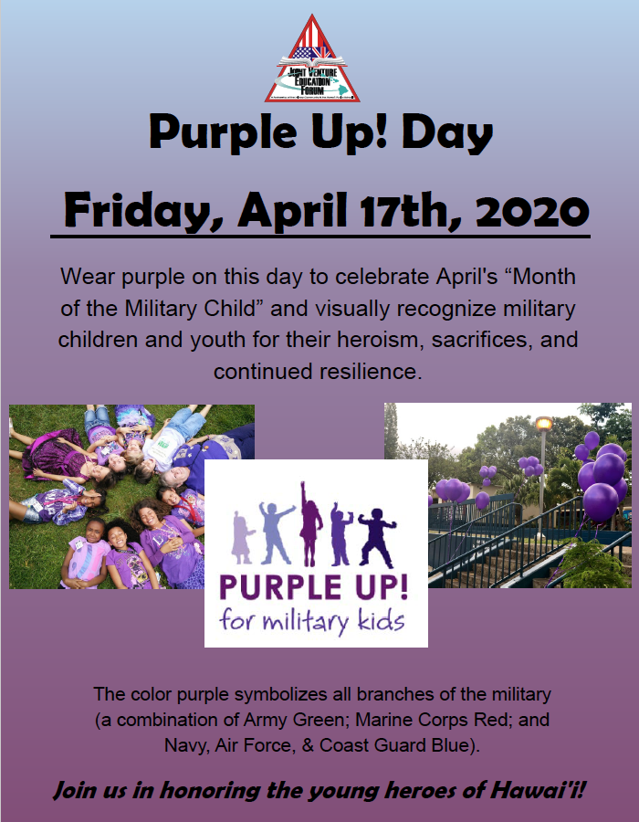 2020 Purple Up! Day Flyer