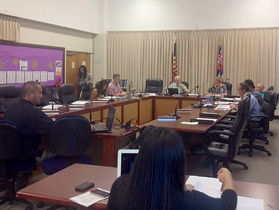 Dept. Supt. Ronn Nozoe addresses the Board of Education.