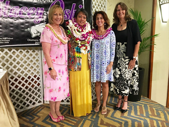 L to R: Complex Area Superintendent Heidi Armstrong, Vice Principal Geri Martin, Superintendent Dr. Christina Kishimoto and Prin