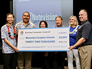 Photo of $32,000 grant made to Moanalua Complex schools for their Korean Language Learning Program.