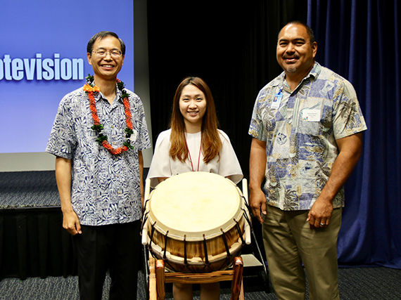 Photo of Korean drum presented to Moanalua Middle School.