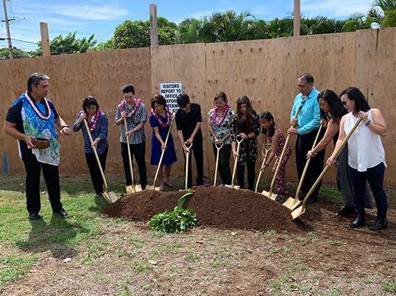 Niu Valley Middle World Language Center Groundbreaking Soil
