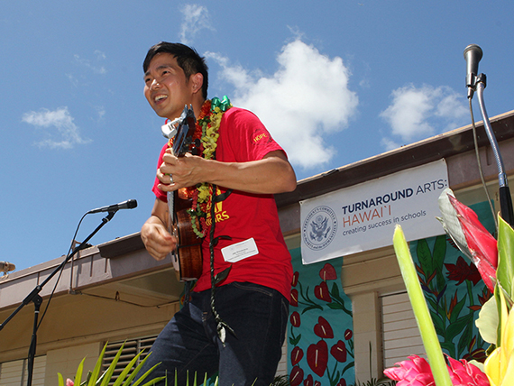 Jake Shimabukuro performed for Kalihi Kai students to launch Turnaround Arts Hawaii at Kalihi Kai El.