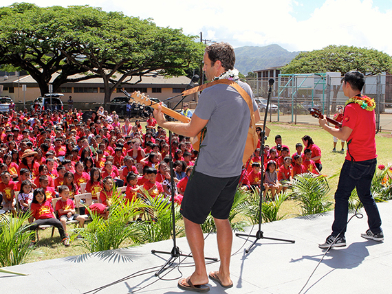 Jack Johnson and Jake Shimabukuro performed for Kalihi Kai students to launch Turnaround Arts Hawaii at Kalihi Kai El.