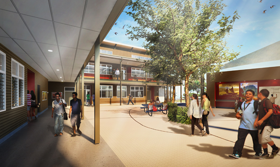 Rendering of Building J at Waikoloa Elementary and Middle School
