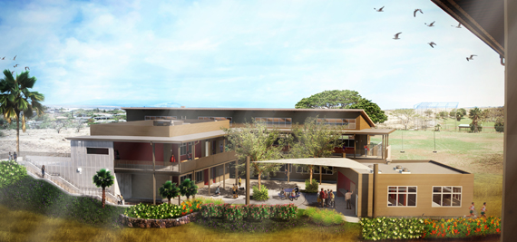 Waikoloa Elementary and Middle School courtyard rendering